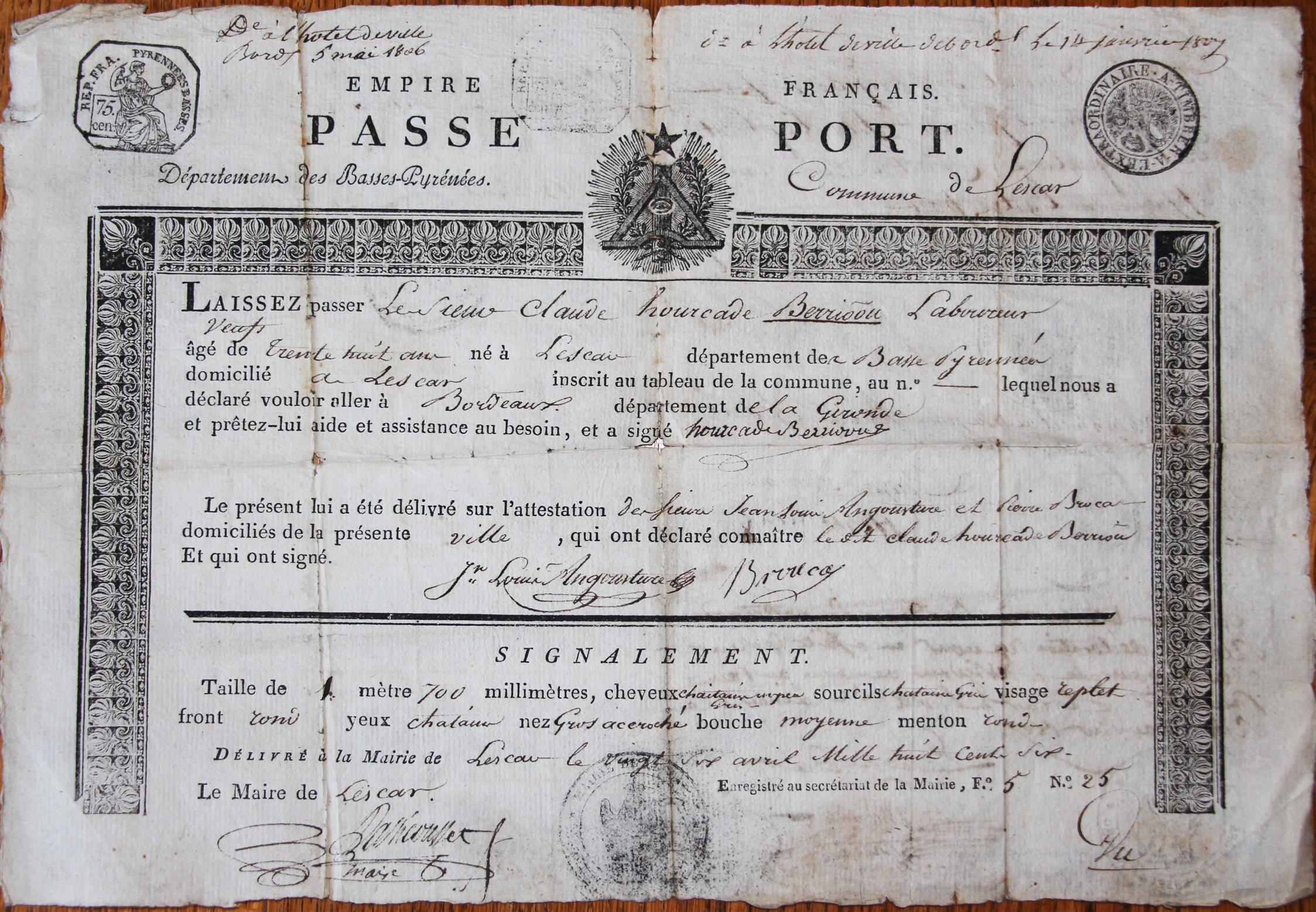 Passeport revolutionnaire de Claude Hourcade